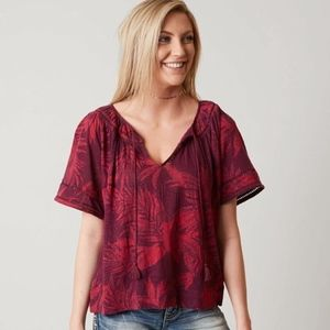 Lucky Brand Linen Tropical Leaves Peasant Blouse M
